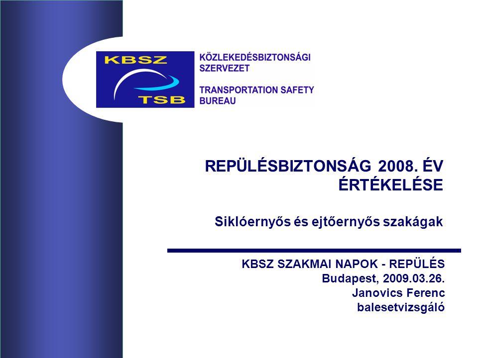 REPÜLÉSBIZTONSÁG 2008. ÉV ÉRTÉKELÉSE Siklóernyős és ejtőernyős szakágak KBSZ SZAKMAI NAPOK - REPÜLÉS Budapest, 2009.03.26. Janovics Ferenc balesetvizs