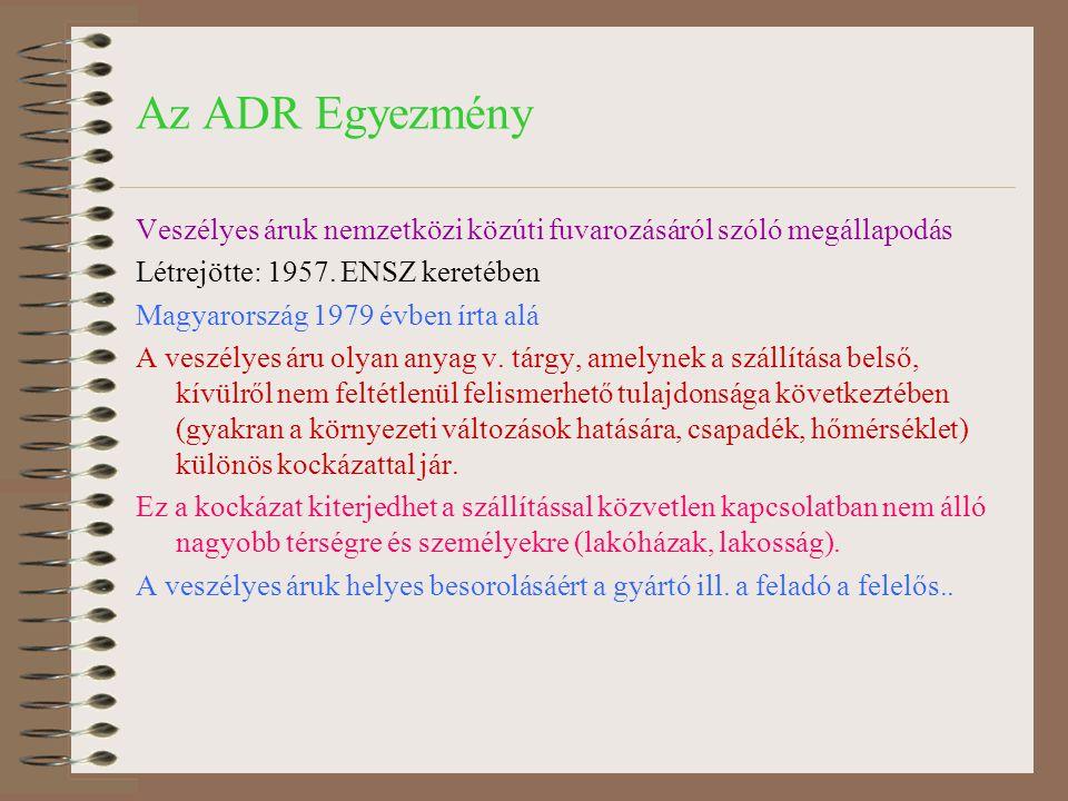 Az ADR Egyezmény Veszélyes áruk nemzetközi közúti fuvarozásáról szóló megállapodás Létrejötte: 1957. ENSZ keretében Magyarország 1979 évben írta alá A