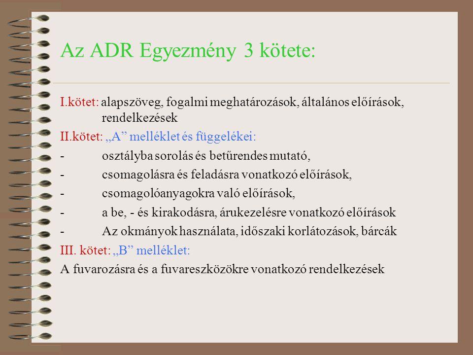 """Az ADR Egyezmény 3 kötete: I.kötet: alapszöveg, fogalmi meghatározások, általános előírások, rendelkezések II.kötet: """"A"""" melléklet és függelékei: -osz"""