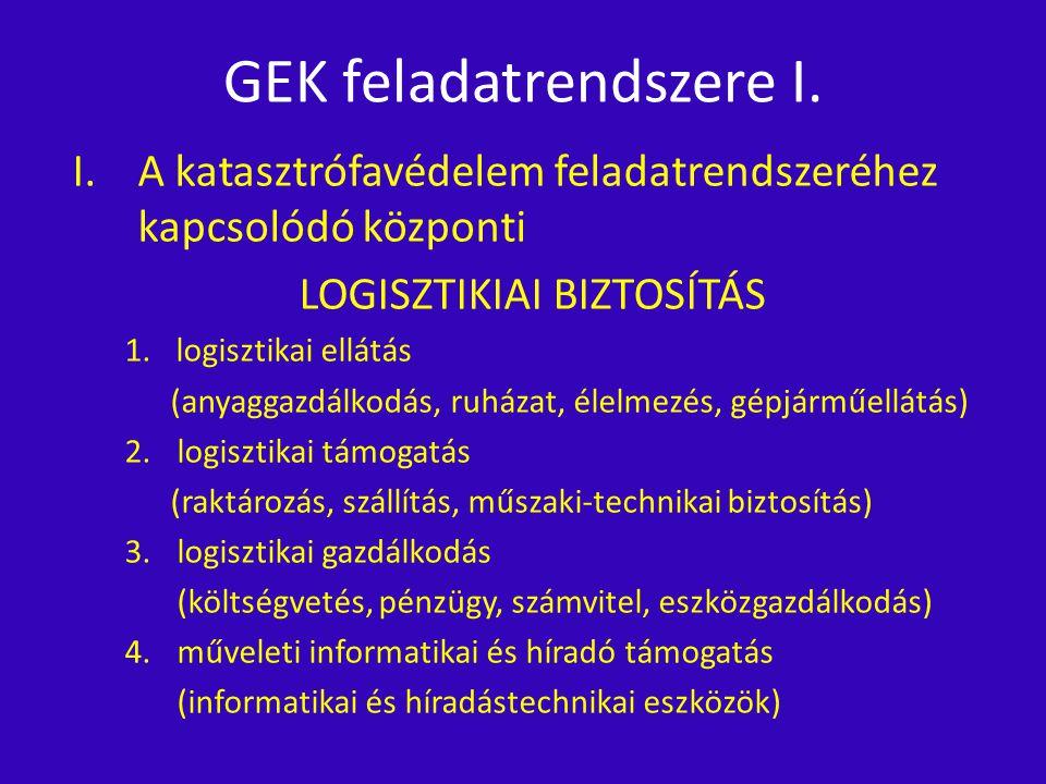 GEK feladatrendszere I. I.A katasztrófavédelem feladatrendszeréhez kapcsolódó központi LOGISZTIKIAI BIZTOSÍTÁS 1.logisztikai ellátás (anyaggazdálkodás
