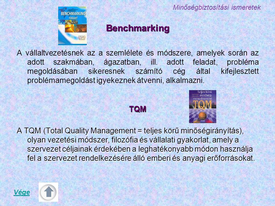 Minőségbiztosítási ismeretekBenchmarking A vállaltvezetésnek az a szemlélete és módszere, amelyek során az adott szakmában, ágazatban, ill. adott fela