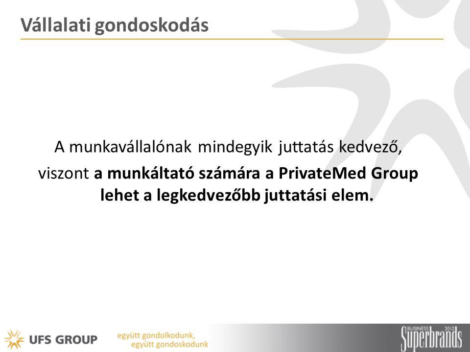 Vállalati gondoskodás A munkavállalónak mindegyik juttatás kedvező, viszont a munkáltató számára a PrivateMed Group lehet a legkedvezőbb juttatási elem.