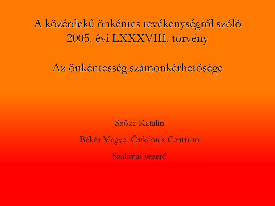 A közérdekű önkéntes tevékenységről szóló 2005.évi LXXXVIII.