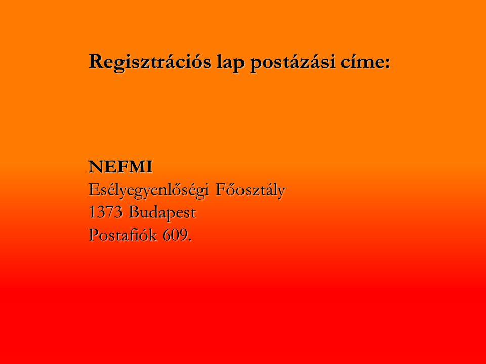 Regisztrációs lap postázási címe: NEFMI Esélyegyenlőségi Főosztály 1373 Budapest Postafiók 609.