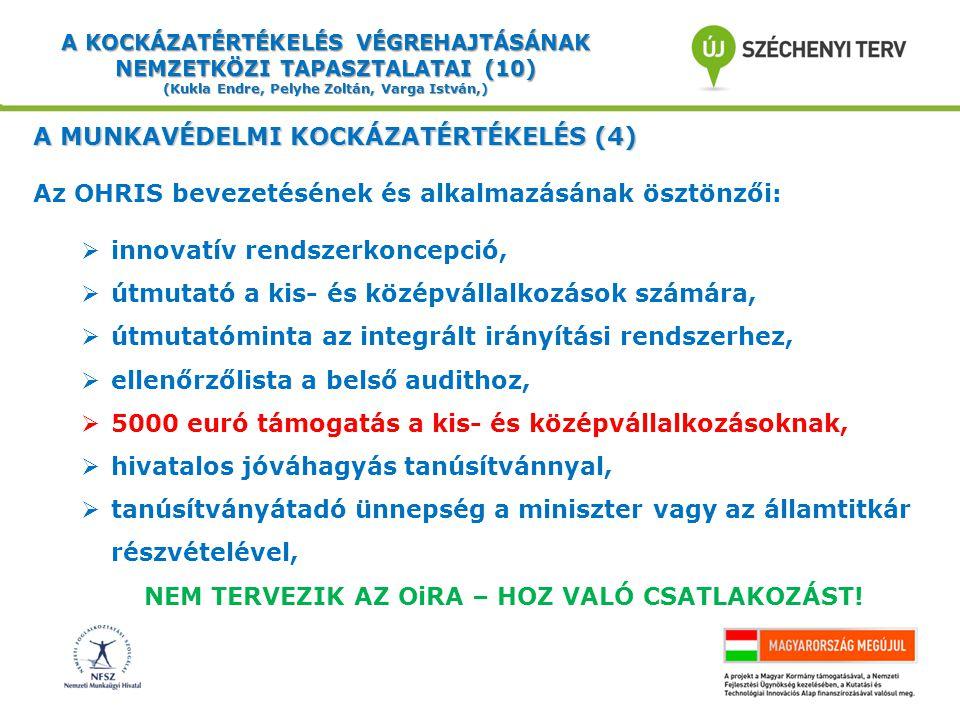 A KOCKÁZATÉRTÉKELÉS VÉGREHAJTÁSÁNAK NEMZETKÖZI TAPASZTALATAI (10) (Kukla Endre, Pelyhe Zoltán, Varga István,) A MUNKAVÉDELMI KOCKÁZATÉRTÉKELÉS (4) Az OHRIS bevezetésének és alkalmazásának ösztönzői:  innovatív rendszerkoncepció,  útmutató a kis- és középvállalkozások számára,  útmutatóminta az integrált irányítási rendszerhez,  ellenőrzőlista a belső audithoz,  5000 euró támogatás a kis- és középvállalkozásoknak,  hivatalos jóváhagyás tanúsítvánnyal,  tanúsítványátadó ünnepség a miniszter vagy az államtitkár részvételével, NEM TERVEZIK AZ OiRA – HOZ VALÓ CSATLAKOZÁST!