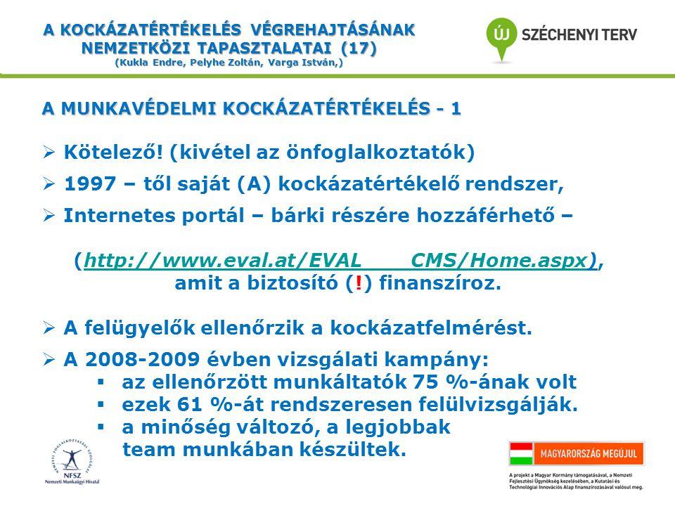 A KOCKÁZATÉRTÉKELÉS VÉGREHAJTÁSÁNAK NEMZETKÖZI TAPASZTALATAI (17) (Kukla Endre, Pelyhe Zoltán, Varga István,) A MUNKAVÉDELMI KOCKÁZATÉRTÉKELÉS - 1  Kötelező.