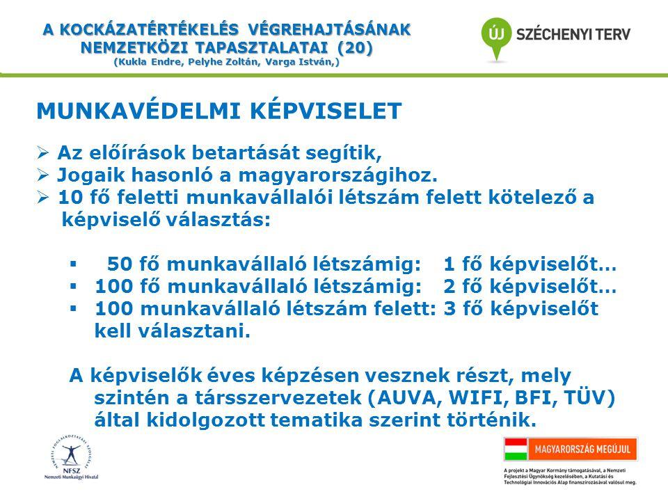 A KOCKÁZATÉRTÉKELÉS VÉGREHAJTÁSÁNAK NEMZETKÖZI TAPASZTALATAI (20) (Kukla Endre, Pelyhe Zoltán, Varga István,) MUNKAVÉDELMI KÉPVISELET  Az előírások betartását segítik,  Jogaik hasonló a magyarországihoz.