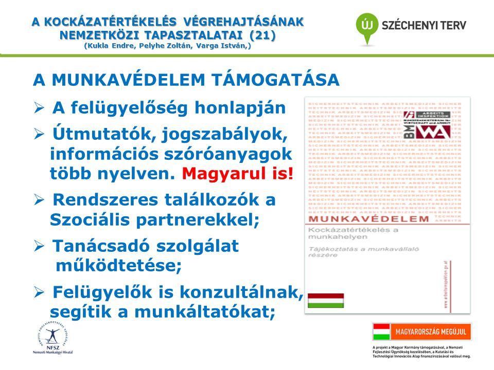 A KOCKÁZATÉRTÉKELÉS VÉGREHAJTÁSÁNAK NEMZETKÖZI TAPASZTALATAI (21) (Kukla Endre, Pelyhe Zoltán, Varga István,) A MUNKAVÉDELEM TÁMOGATÁSA  A felügyelőség honlapján  Útmutatók, jogszabályok, információs szóróanyagok több nyelven.
