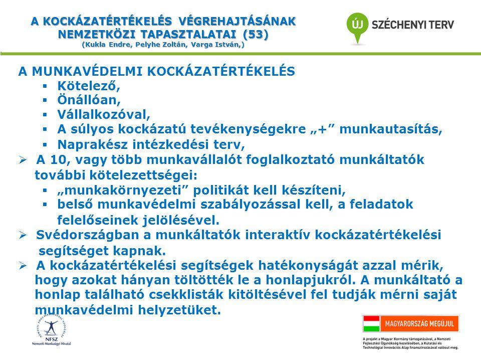 """A KOCKÁZATÉRTÉKELÉS VÉGREHAJTÁSÁNAK NEMZETKÖZI TAPASZTALATAI (53) (Kukla Endre, Pelyhe Zoltán, Varga István,) A MUNKAVÉDELMI KOCKÁZATÉRTÉKELÉS  Kötelező,  Önállóan,  Vállalkozóval,  A súlyos kockázatú tevékenységekre """"+ munkautasítás,  Naprakész intézkedési terv,  A 10, vagy több munkavállalót foglalkoztató munkáltatók további kötelezettségei:  """"munkakörnyezeti politikát kell készíteni,  belső munkavédelmi szabályozással kell, a feladatok felelőseinek jelölésével."""
