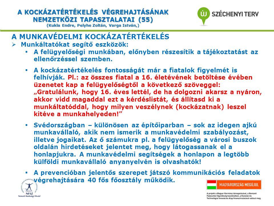 A KOCKÁZATÉRTÉKELÉS VÉGREHAJTÁSÁNAK NEMZETKÖZI TAPASZTALATAI (55) (Kukla Endre, Pelyhe Zoltán, Varga István,) A MUNKAVÉDELMI KOCKÁZATÉRTÉKELÉS  Munkáltatókat segítő eszközök:  A felügyelőségi munkában, előnyben részesítik a tájékoztatást az ellenőrzéssel szemben.