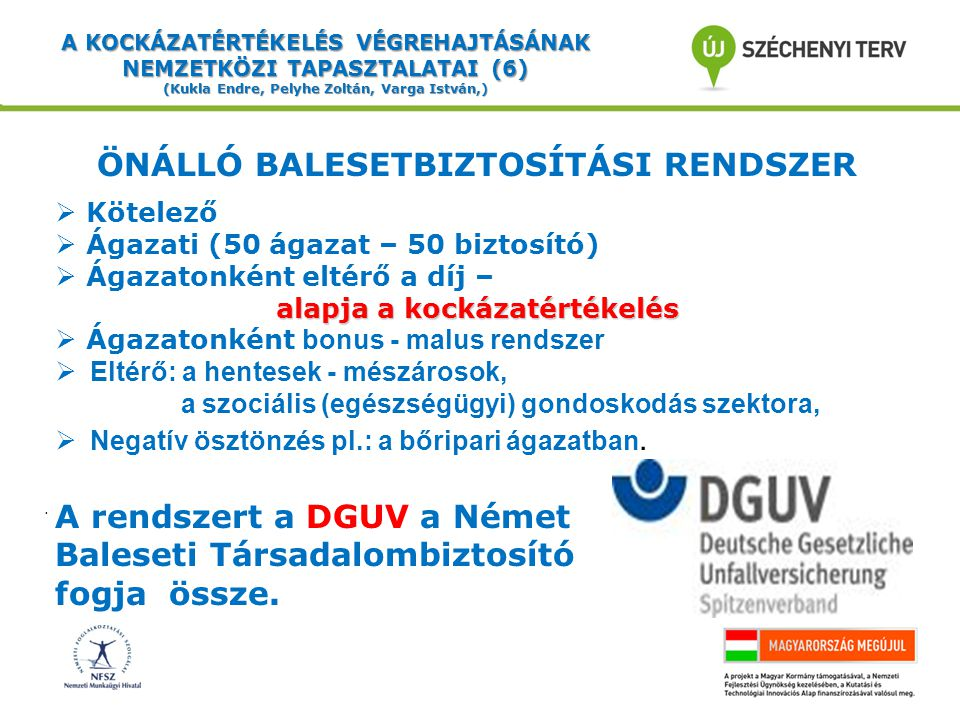 A KOCKÁZATÉRTÉKELÉS VÉGREHAJTÁSÁNAK NEMZETKÖZI TAPASZTALATAI (7) (Kukla Endre, Pelyhe Zoltán, Varga István,) A MUNKAVÉDELMI KOCKÁZATÉRTÉKELÉS (1) Munkavédelmi ellenőrzéseket és tanácsadást végeznek:  a munkavédelmi hatóság és  az ágazati biztosító társaságok, terhek csökkentése: A kockázatértékelésekkel kapcsolatos terhek csökkentése:  Tervezték:  Tervezték: … az EU-nak való megfelelés miatt (10 fő alatt)  Elvetették: -Ellentétes az alkotmánnyal (szektor semlegesség).