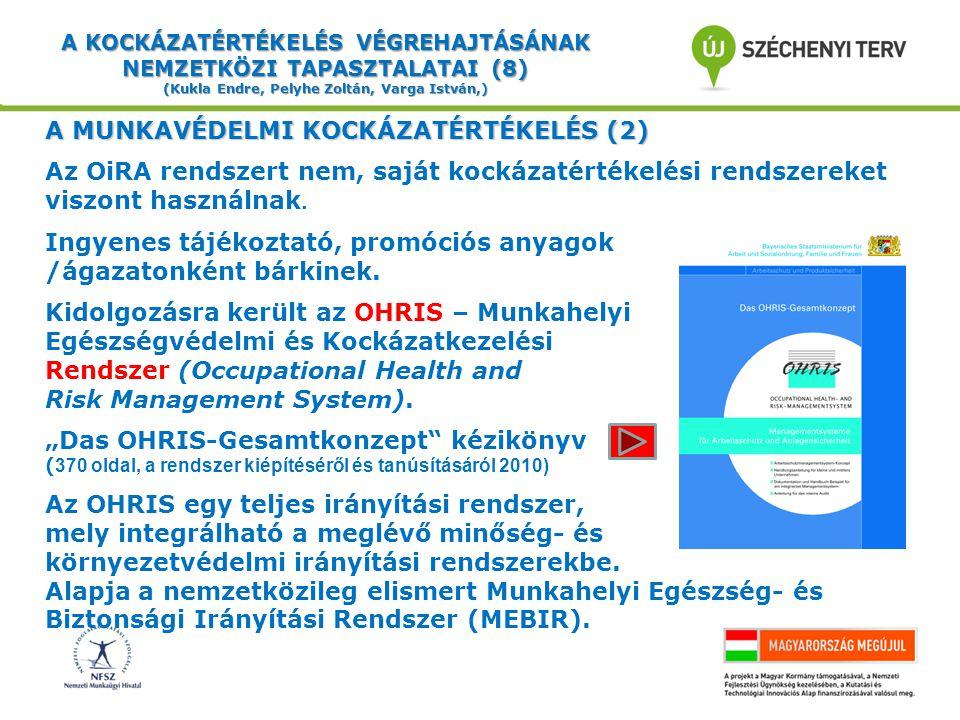 A KOCKÁZATÉRTÉKELÉS VÉGREHAJTÁSÁNAK NEMZETKÖZI TAPASZTALATAI (9) (Kukla Endre, Pelyhe Zoltán, Varga István,) A MUNKAVÉDELMI KOCKÁZATÉRTÉKELÉS (3) Az OHRIS előnyei:  minden tanúsító dokumentum ingyenesen beszerezhető,  a tanácsadást és a tanúsítást ingyenesen a Munkavédelmi Felügyelőség végzi (Bajorországban és Szászországban.) Az OHRIS szerint tanúsított munkavédelmi irányítási rendszer a munkavállalót állítja a középpontba.