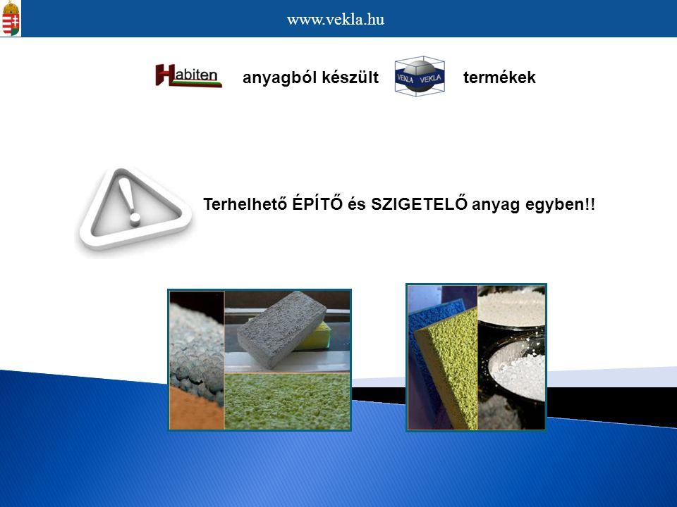anyagból készült termékek Terhelhető ÉPÍTŐ és SZIGETELŐ anyag egyben!! www.vekla.hu