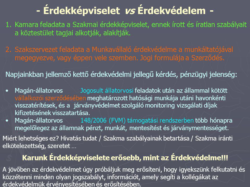 - Érdekképviselet vs Érdekvédelem - 1.Kamara feladata a Szakmai érdekképviselet, ennek írott és íratlan szabályait a köztestület tagjai alkotják, alakítják.