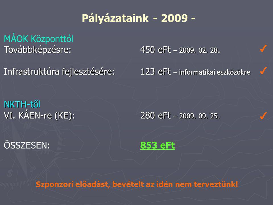 Pályázataink - 2009 - MÁOK Központtól Továbbképzésre: 450 eFt – 2009.