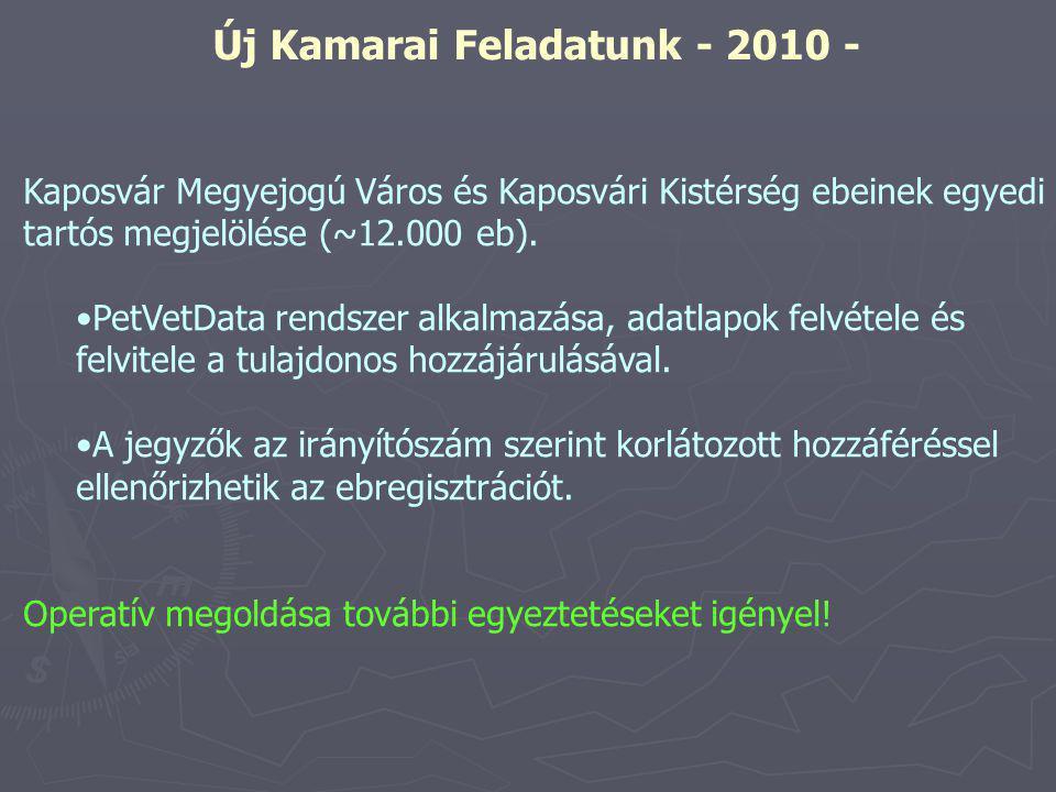 Új Kamarai Feladatunk - 2010 - Kaposvár Megyejogú Város és Kaposvári Kistérség ebeinek egyedi tartós megjelölése (~12.000 eb).
