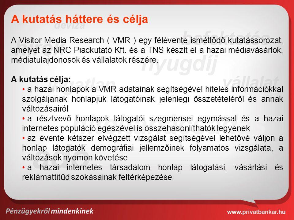 A Visitor Media Research ( VMR ) egy félévente ismétlődő kutatássorozat, amelyet az NRC Piackutató Kft. és a TNS készít el a hazai médiavásárlók, médi