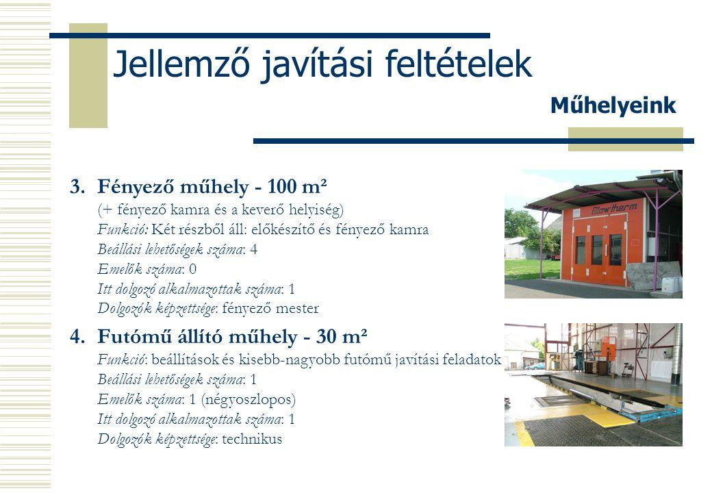 Jellemző javítási feltételek 5.Gépkocsi mosó - 30 m² Funkció: Gépkocsi külső-belső mosás Beállási lehetőségek száma: 2 Emelők száma: 0 Itt dolgozó alkalmazottak száma: 1 Dolgozók képzettsége: betanított munkás Műhelyeink