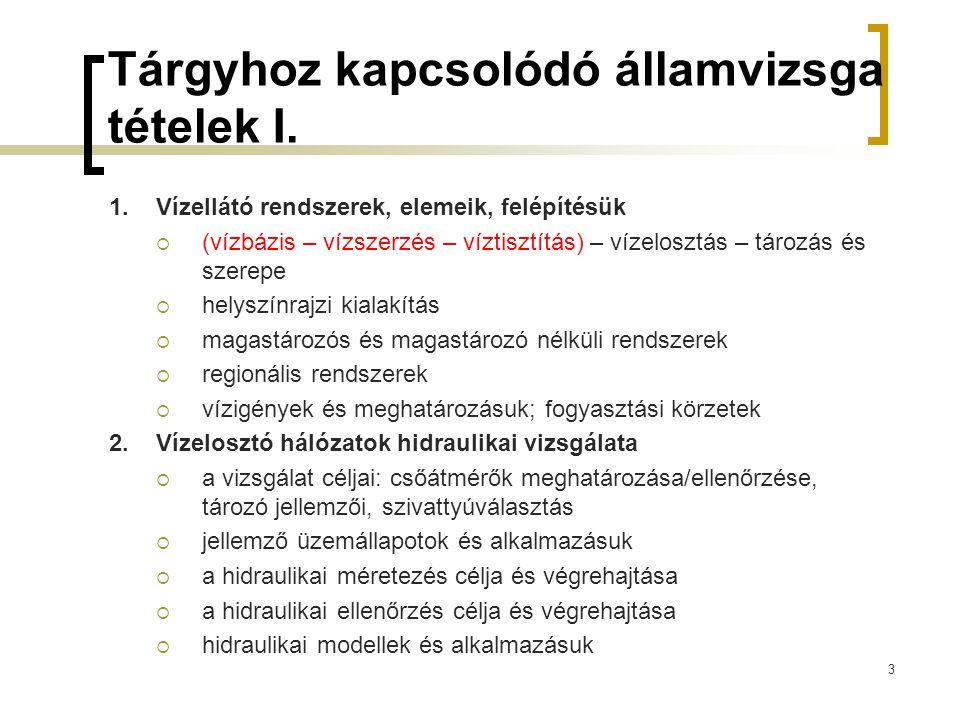 Tárgyhoz kapcsolódó államvizsga tételek II.