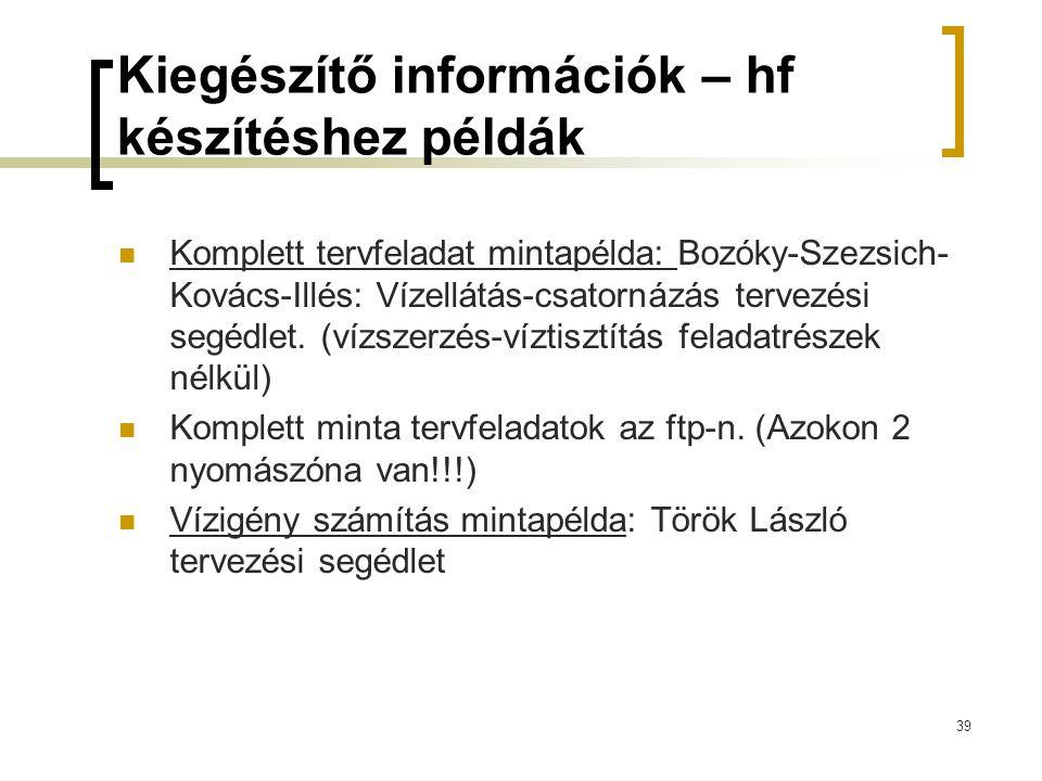 Kiegészítő információk – hf készítéshez példák  Komplett tervfeladat mintapélda: Bozóky-Szezsich- Kovács-Illés: Vízellátás-csatornázás tervezési segé
