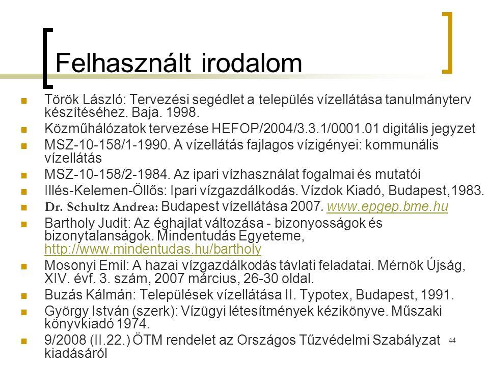 44 Felhasznált irodalom  Török László: Tervezési segédlet a település vízellátása tanulmányterv készítéséhez. Baja. 1998.  Közműhálózatok tervezése
