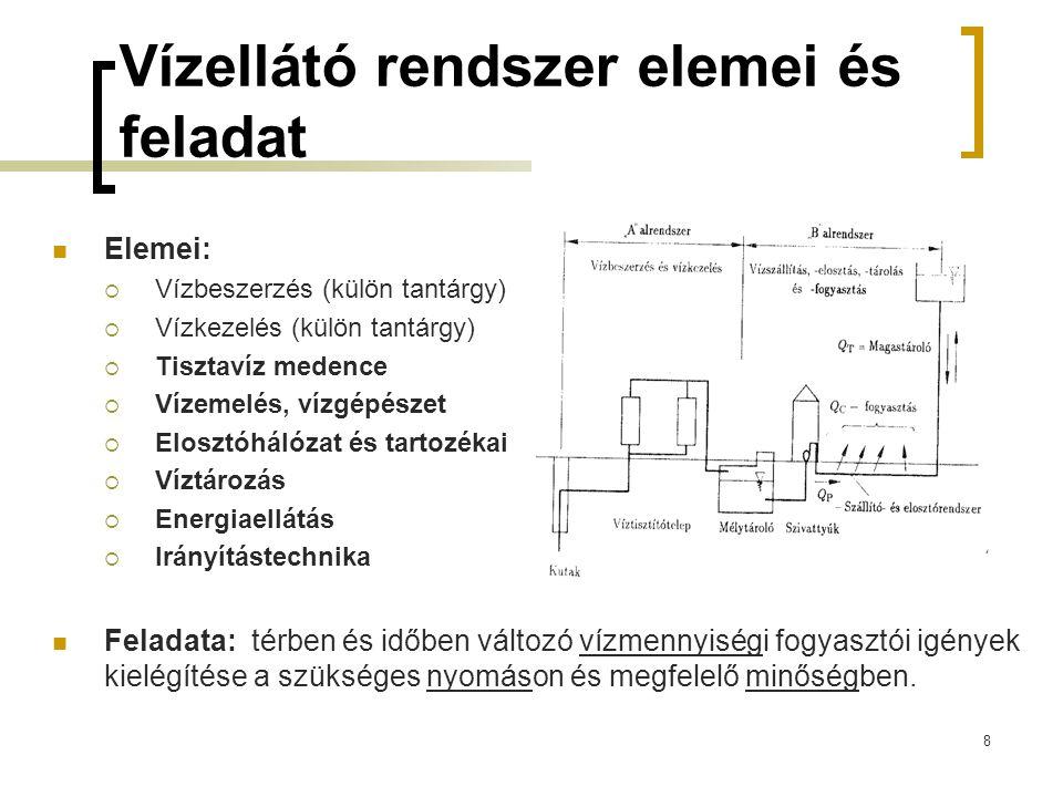 Vízellátó rendszer elemei és feladat  Elemei:  Vízbeszerzés (külön tantárgy)  Vízkezelés (külön tantárgy)  Tisztavíz medence  Vízemelés, vízgépés