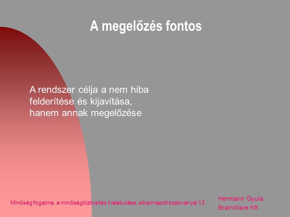 A megelőzés fontos Hermann Gyula BrainWare Kft. Minőség fogalma, a minőségbiztosítás kialakulása, alkalmazott szabványai 13 A rendszer célja a nem hib
