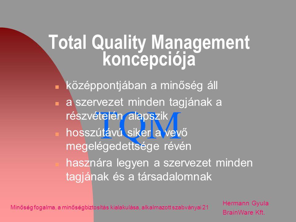 TQM Total Quality Management koncepciója n középpontjában a minőség áll n a szervezet minden tagjának a részvételén alapszik n hosszútávú siker a vevő