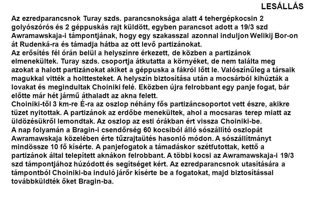 Az ezredparancsnok Turay szds. parancsnoksága alatt 4 tehergépkocsin 2 golyószórós és 2 géppuskás rajt küldött, egyben parancsot adott a 19/3 szd Awra