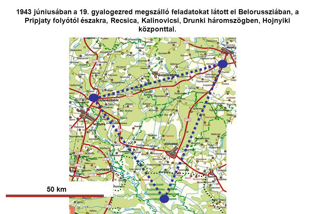1943 júniusában a 19. gyalogezred megszálló feladatokat látott el Belorussziában, a Pripjaty folyótól északra, Recsica, Kalinovicsi, Drunki háromszögb