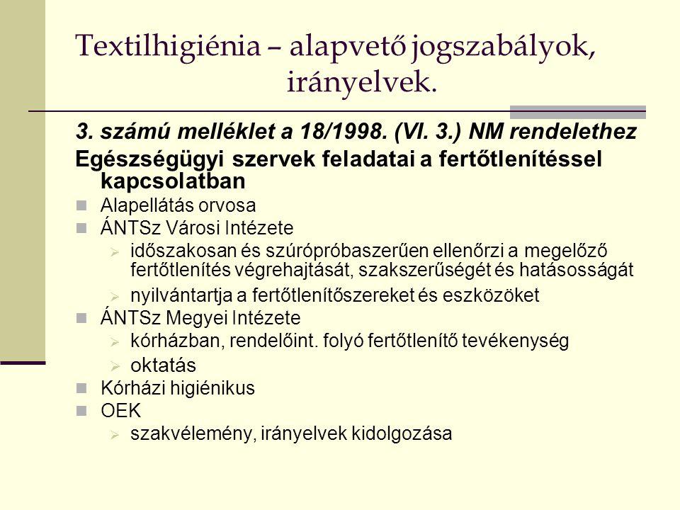 Textilhigiénia – alapvető jogszabályok, irányelvek. 3. számú melléklet a 18/1998. (VI. 3.) NM rendelethez Egészségügyi szervek feladatai a fertőtlenít