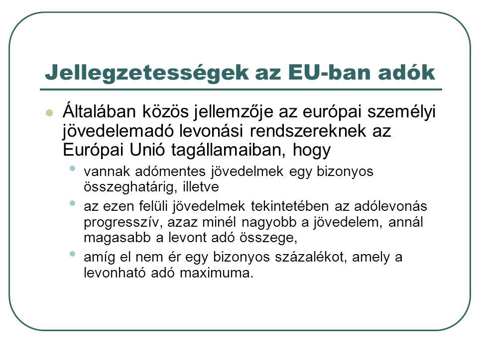 Jellegzetességek az EU-ban adók  Általában közös jellemzője az európai személyi jövedelemadó levonási rendszereknek az Európai Unió tagállamaiban, ho