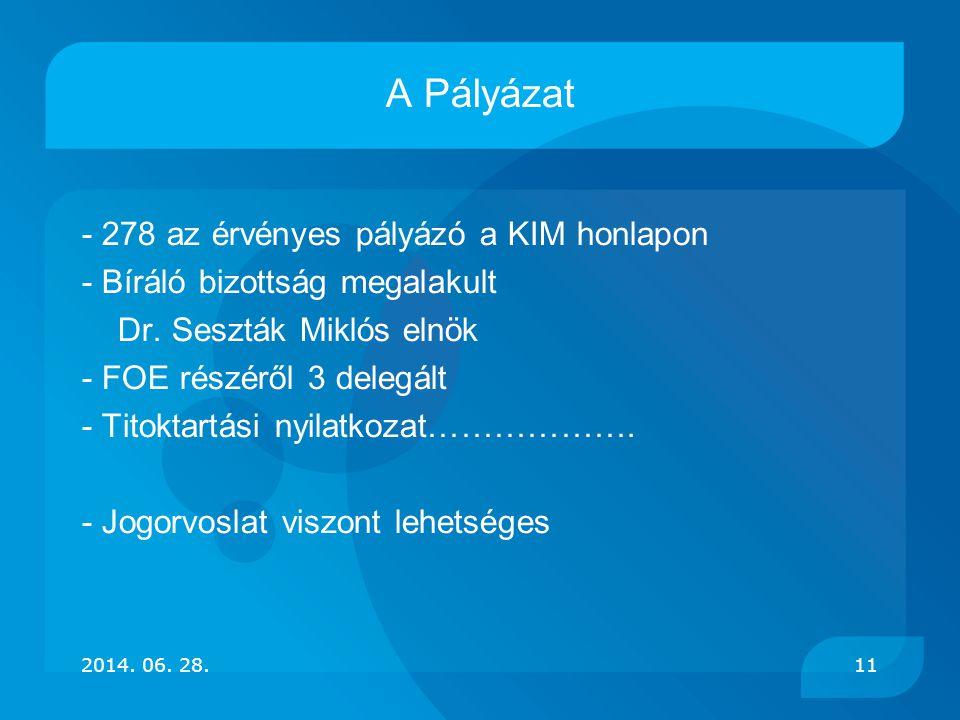 A Pályázat - 278 az érvényes pályázó a KIM honlapon - Bíráló bizottság megalakult Dr. Seszták Miklós elnök - FOE részéről 3 delegált - Titoktartási ny