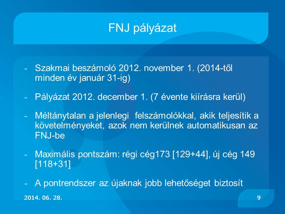 9 FNJ pályázat - Szakmai beszámoló 2012. november 1. (2014-től minden év január 31-ig) - Pályázat 2012. december 1. (7 évente kiírásra kerül) - Méltán