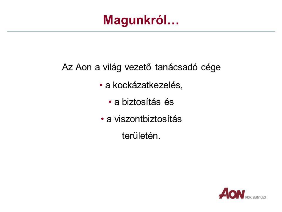Magunkról… Az Aon a világ vezető tanácsadó cége • a kockázatkezelés, • a biztosítás és • a viszontbiztosítás területén.