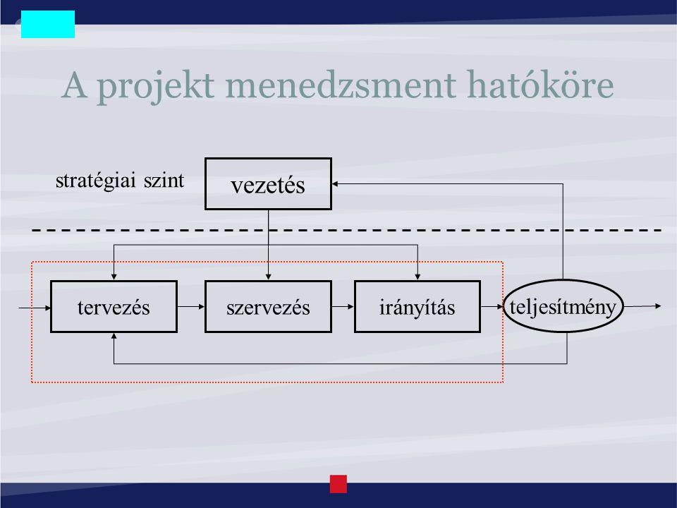 A projekt menedzsment hatóköre vezetés tervezésszervezésirányítás stratégiai szint teljesítmény