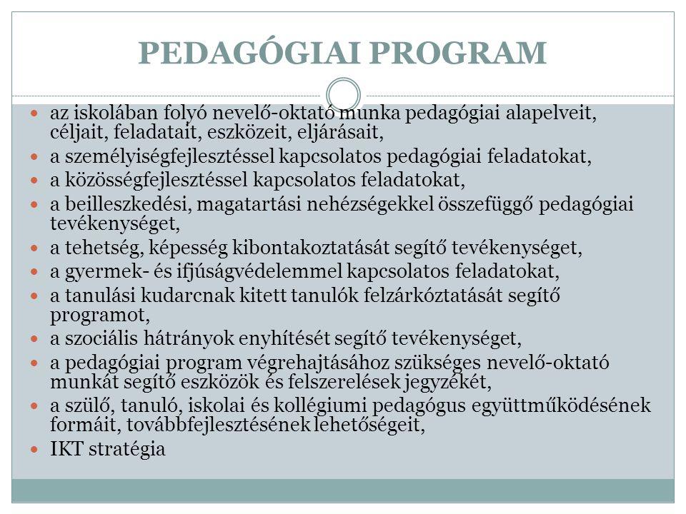 PEDAGÓGIAI PROGRAM  az iskolában folyó nevelő-oktató munka pedagógiai alapelveit, céljait, feladatait, eszközeit, eljárásait,  a személyiségfejleszt