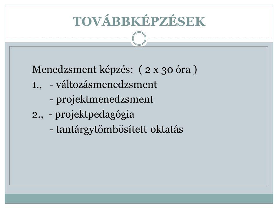 TOVÁBBKÉPZÉSEK Menedzsment képzés: ( 2 x 30 óra ) 1., - változásmenedzsment - projektmenedzsment 2., - projektpedagógia - tantárgytömbösített oktatás