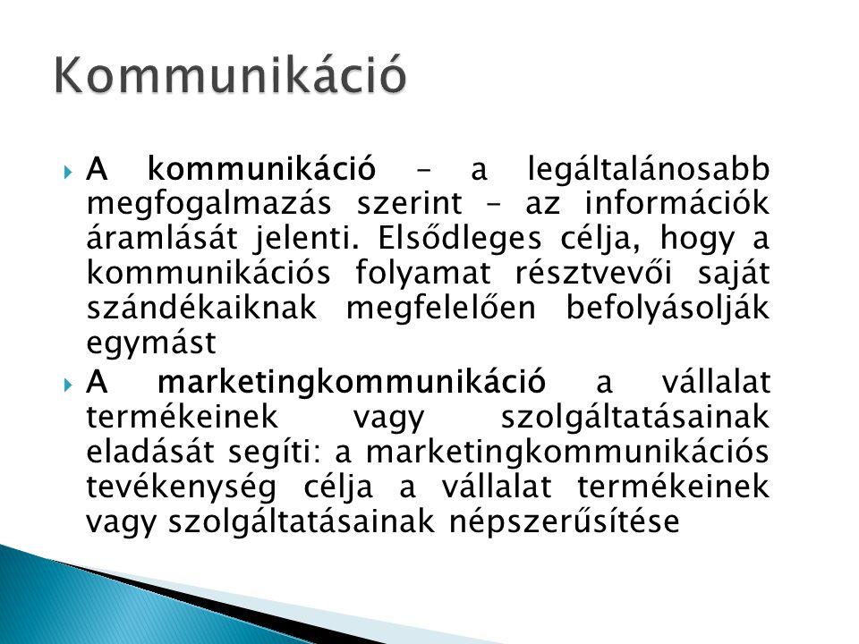  A kommunikáció – a legáltalánosabb megfogalmazás szerint – az információk áramlását jelenti. Elsődleges célja, hogy a kommunikációs folyamat résztve