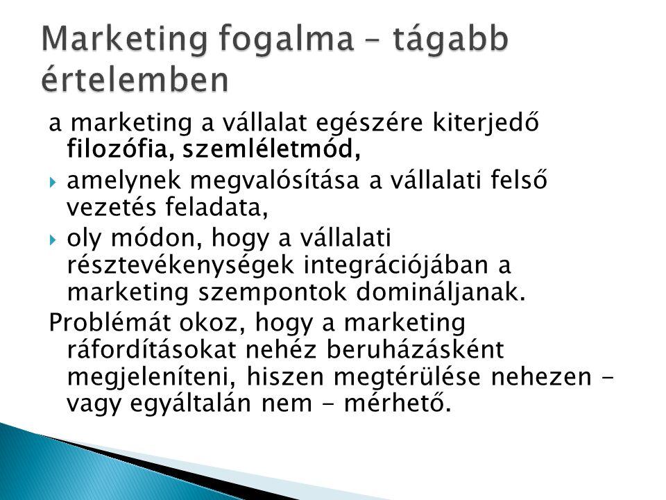 a marketing a vállalat egészére kiterjedő filozófia, szemléletmód,  amelynek megvalósítása a vállalati felső vezetés feladata,  oly módon, hogy a vá