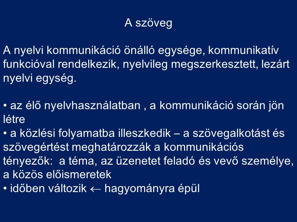 A szöveg A nyelvi kommunikáció önálló egysége, kommunikatív funkcióval rendelkezik, nyelvileg megszerkesztett, lezárt nyelvi egység. • az élő nyelvhas