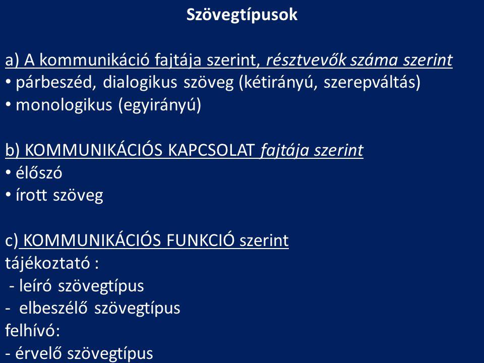 Szövegtípusok a) A kommunikáció fajtája szerint, résztvevők száma szerint • párbeszéd, dialogikus szöveg (kétirányú, szerepváltás) • monologikus (egyi