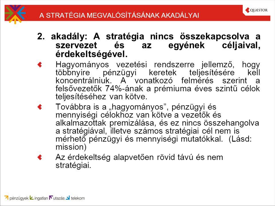 A STRATÉGIA MEGVALÓSÍTÁSÁNAK AKADÁLYAI 2. akadály: A stratégia nincs összekapcsolva a szervezet és az egyének céljaival, érdekeltségével. Hagyományos