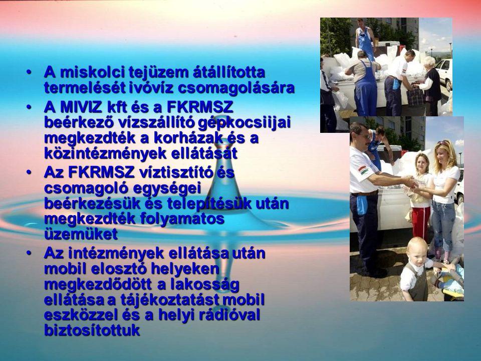 •A miskolci tejüzem átállította termelését ivóvíz csomagolására •A MIVIZ kft és a FKRMSZ beérkező vízszállító gépkocsiijai megkezdték a korházak és a