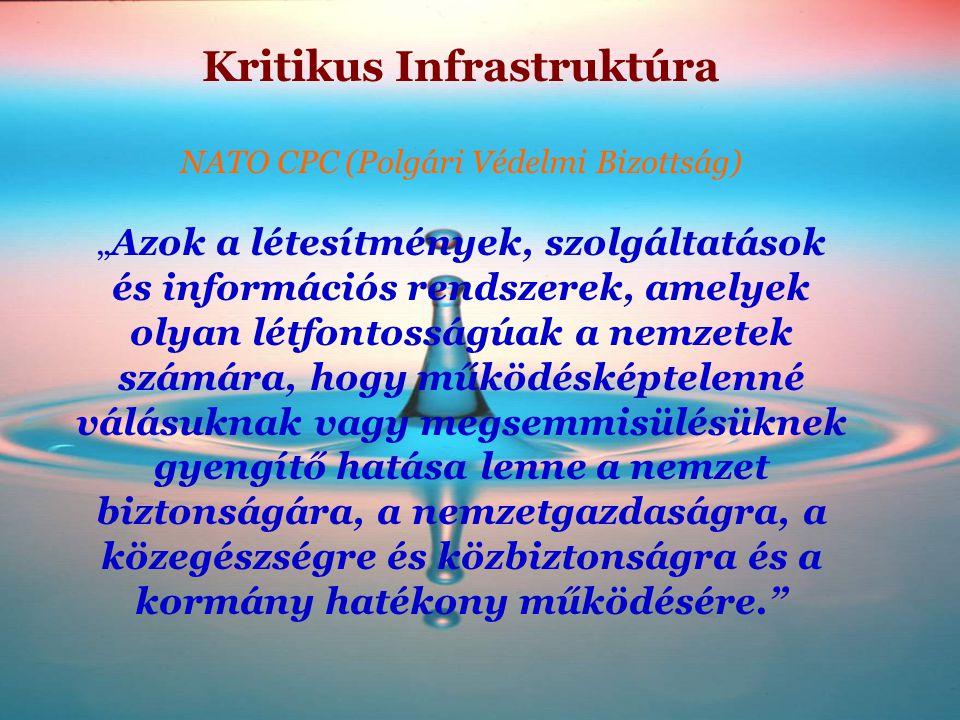 """Kritikus Infrastruktúra NATO CPC (Polgári Védelmi Bizottság) """"Azok a létesítmények, szolgáltatások és információs rendszerek, amelyek olyan létfontoss"""