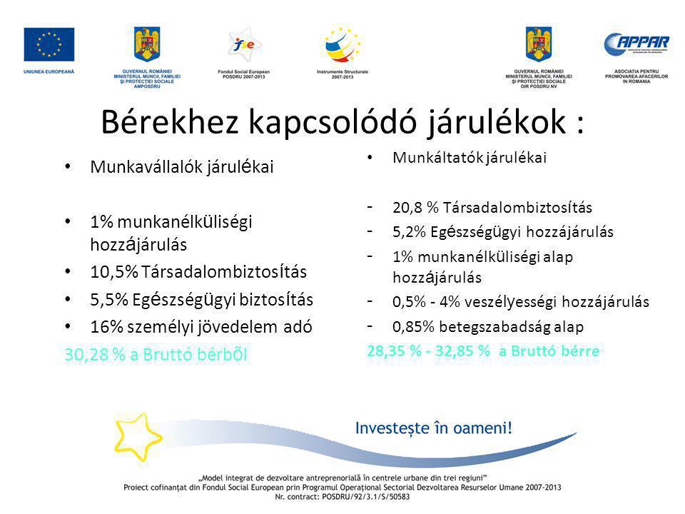 Bérekhez kapcsolódó járulékok : • Munkavállalók járul é kai • 1% munkanélk ü liségi hozz á járulás • 10,5% Társadalombiztos í tás • 5,5% Eg é szség ü