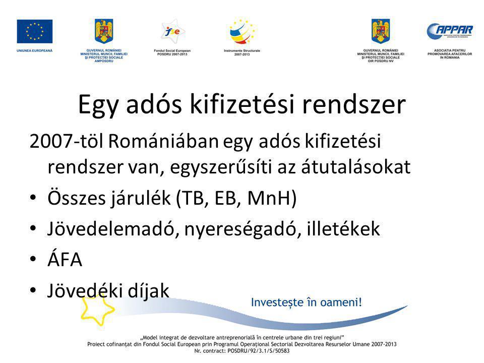 Egy adós kifizetési rendszer 2007-töl Romániában egy adós kifizetési rendszer van, egyszerűsíti az átutalásokat • Összes járulék (TB, EB, MnH) • Jöved