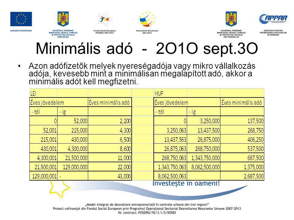 Minimális adó - 2O1O sept.3O •Azon adófizetők melyek nyereségadója vagy mikro vállalkozás adója, kevesebb mint a minimálisan megalapított adó, akkor a