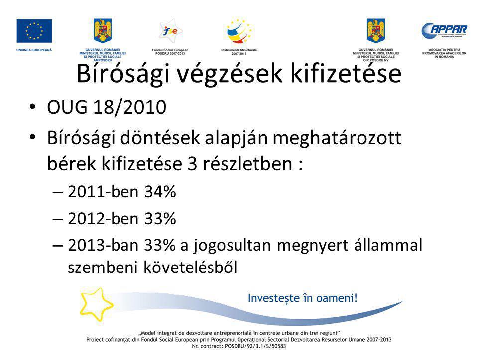 Bírósági végzések kifizetése • OUG 18/2010 • Bírósági döntések alapján meghatározott bérek kifizetése 3 részletben : – 2011-ben 34% – 2012-ben 33% – 2