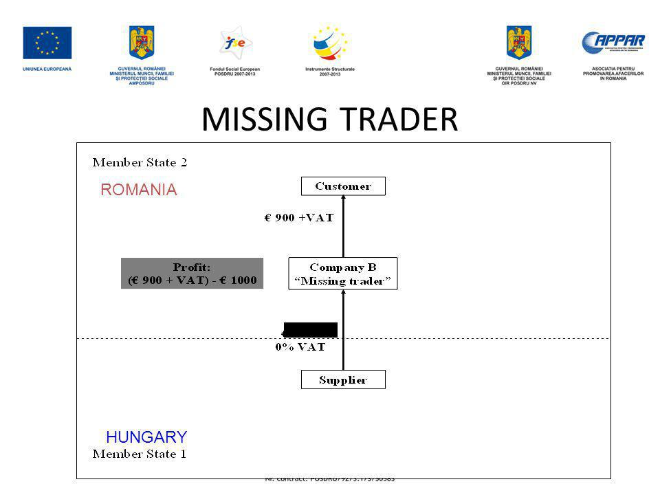 MISSING TRADER HUNGARY ROMANIA